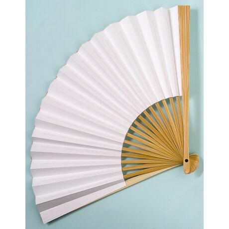 Legyező fehér kétoldalas bambusz nyéllel