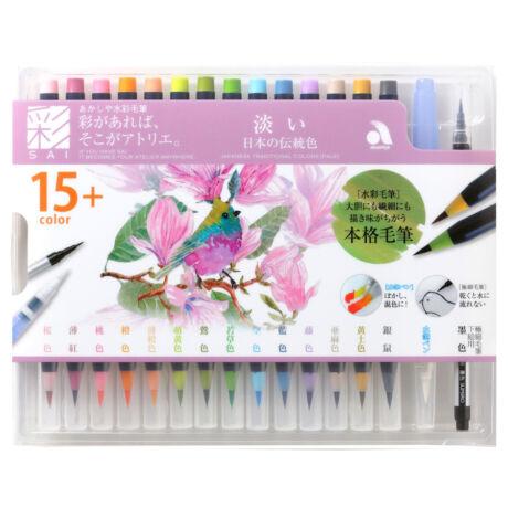 Akvarell ecsettoll 15+1 szett Akashia SAI - Világos színek