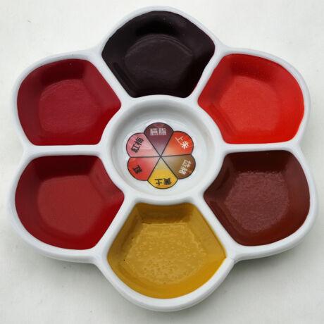 Akvarellszett 6 szín sziromtálban Gansai - Ornamental red