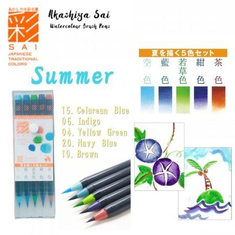 Akvarell ecsettoll 5db-os szett Akashia Sai - Summer